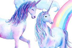 Watercolor Clipart Unicorns by Corner Croft on @creativemarket
