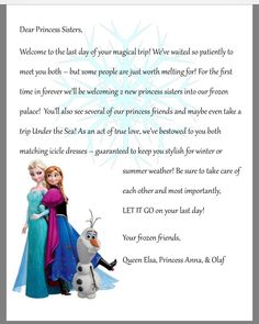 a welcome letter from your child's favorite disney character! have