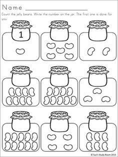 Jelly Bean Developing Math Skills for PreK and K Preschool Writing, Numbers Preschool, Preschool Learning, Teaching, Homeschool Worksheets, Kindergarten Math Worksheets, Math Activities, Math Math, Free Worksheets