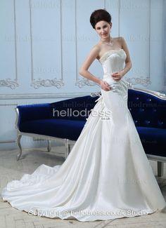 Mermaid Style Satin Sweetheart Strapless Beading Wedding Dress