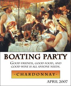 Renoir's Boating Party is the perfect backdrop for this custom personalized wine label from Noontime Labels