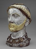 Reliquary Bust of Saint Yrieix, second quarter of 13th century, France, Limousin, Church of Saint-Yrieix-la-Perche, Gilded silver, rock crystal, gems, glass, originally over walnut core with silver leaf and gesso on interior (17.190.352a,b)