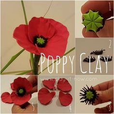 poppy flower utorial-poppy clay-poppy flower for memorial day or ANZAC day in Australia Polymer Clay Kunst, Polymer Clay Miniatures, Polymer Clay Projects, Polymer Clay Creations, Fimo Clay, Ceramic Poppies, Ceramic Flowers, Cold Porcelain Flowers, Porcelain Clay