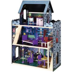 """Let your little one discover the joy of role playing with our beautiful doll houses. This house is made for 1/6 scale (approx. 11"""""""") dolls. This dollhouse comes complete with: bed, two sets of stairs,"""