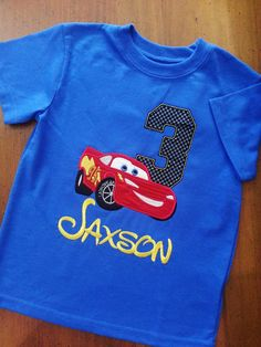 Lightning McQueen Cars Disney Blue Pixar Birthday Number Shirt Embroidery Name (Personalizing Included YELLOW) Race Track Nascar Shirt