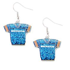 """Denver Broncos Women's Glitter Earrings Shaped Like A Jersey Click The Green """"Buy Now"""" Button To Get Yours Now! Shop with confidence! 100% Money Back Satisfaction Guarantee!"""