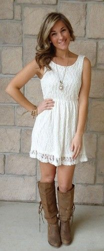 Cute lace dress and boots :)