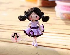 fairyfinfin: Crochet Girl doll, Crochet cute girl, Crochet tiny...