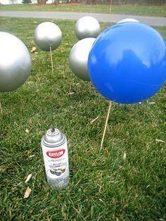 diy Holiday Lawn Decorations | DIY yard ornaments - spray paint bouncy balls ... | CHRISTMAS...MY FA ...