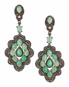 Chrysoprase & Tourmaline Scalloped Earrings by Bavna at Neiman Marcus Last Call.