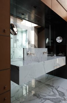 Leather, marble and mirror