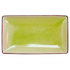 Japanese Style 8 1/2 x 5 1/2 Rectangular Plate Golden Green/Case of 24