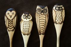 Set of 4 Wood burned owl spoons by littlesisterscrafts on Etsy