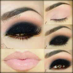 Dark eye + light colored lip. Love it!!