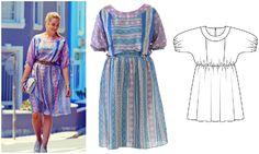 Платье с цельнокроеными рукавами #burdastyle #burda #платье #бурда
