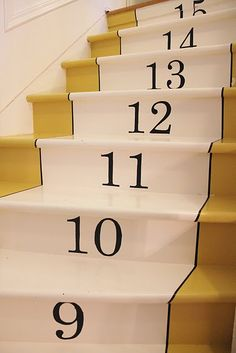 Not these colors or the numbers, but I love the idea of painting the runner on the stairs!