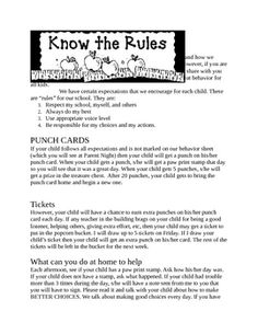 This is a note about how I implement our school-wide behavior plan. I use punch cards and tickets to reward behavior. If you don't have my fonts em...