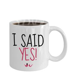 Engagement Mugs, Just Engaged, I Said Yes, Best Friend Gifts, Art Market, Valentine Day Gifts, Panda, Gifts For Her, Sayings