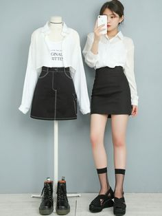 Ulzzang Fashion, Kpop Fashion, Cute Fashion, Fashion Outfits, Kpop Outfits, Korean Outfits, Korean Fashion Trends, Asian Fashion, Stylish Outfits
