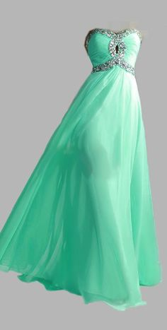 HOT Lime Green Aqua Prom Dress