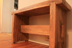 New Harvest Bench made out of Solid Oak. From Akins & O'Neill Design Reclaimed Furniture, Solid Oak, Making Out, Wood Projects, Project Ideas, Harvest, Bench, Shelves, Rustic