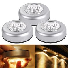 3 LED Puck Light Bulbs, Pack of 3 Units, Battery Powered Tap Light, Warm White Kitchen Cabinet Lights Battery Powered Led Lights, Led Puck Lights, Battery Operated, Under Cabinet Lighting, Kitchen Lighting, Cabinet Lights, Touch Lamp, Light Touch, White Kitchen Cabinets