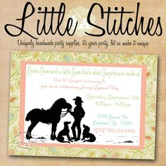 invitations for a western cowgirl baby shower or party theme by this is the