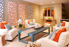 Orange Living Room Decorating Ideas Finance Set Tan Blue Gray Interior Pinte Modern Coastal Tuvalu Home Decor Colourful