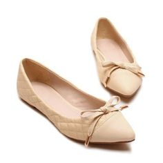 Cheap Wholesale Casual PU Leather Solid Color Bow Design Women's Flat Shoes (APRICOT,39) At Price 17.64 - DressLily.com