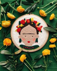 Paper Embroidery Punch needle kit of Frida Kahlo - Is your payday burning a hole in your pocket? Here are 7 of the best creative products to buy this week—from ceramics to embroidery! Arte Punch, Punch Art, Punch Needle Kits, Punch Needle Patterns, Paper Embroidery, Embroidery Patterns, Modern Embroidery, Rug Hooking, Needle Felting