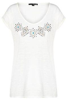 White Burnout Embellished Top