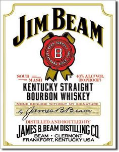 "Jim Beam White Label Vintage Sign Reproduction features the same white label found on every bottle. Colonel James B. Beam, rebuilt the business following Prohibition, after which he gave the name """"Ji"