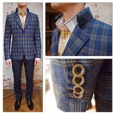 Circle Of Gentlemen Silverthorn High Collar Check Blazer: $750 Circle of Gentlemen Perrot Shirt w/ 2 Button Collar: $245