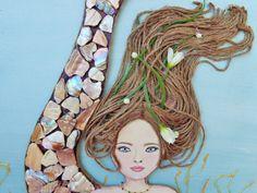 Mermaid Decor Original Beach Wall Art. Brown Hair by MidorisMyMuse