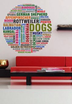 Dog Breeds Animals - Full Color Wall Decal Vinyl Decor Art Sticker Removable Mural Modern B136 by uBerDecals on Etsy https://www.etsy.com/listing/194565142/dog-breeds-animals-full-color-wall-decal