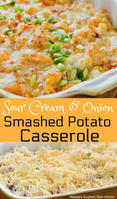 The flavor combination in this Sour Cream and Onion Smashed Potato Casserole is sure to complement a varity of homestyle main dish entrees. Easy Potato Recipes, Great Recipes, Dinner Recipes, Favorite Recipes, Dinner Ideas, Veggie Casserole, Potatoe Casserole Recipes, Brocolli Casserole, Casserole Dishes