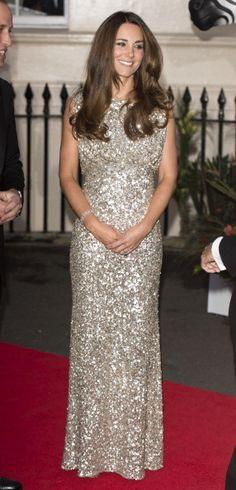 12 September 2013 Kate Middleton Sparkles in Custom Jenny Packham for First Formal Event as a Mum: Sparkly!