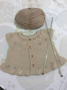 """Bedriye Özağaçli """"Discover thousands of images about Çok guzel # # # """"I've couldn't wait to cast on the Ria baby vest by so I'm using some Millamia Diy Crafts Knitting, Diy Crafts Crochet, Knitting For Kids, Baby Knitting Patterns, Baby Patterns, Hand Knitting, Knit Baby Dress, Knitted Baby Cardigan, Baby Pullover"""