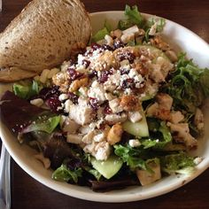 Boudin has a fantastic salad selction, such as this beauty. This salad has spring greens, walnuts, dried cranberries, chicken, apple slices and feta cheese <3 #salad #healthyeats #boudin