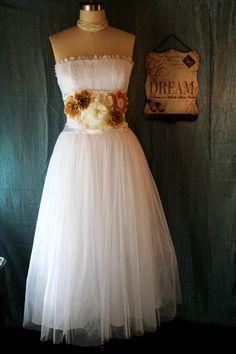 Upcycled Wedding Dress Romantic Dreamy Bridesmaid Dress 50's Garden Style Wedding Dress Destination Wedding Dress