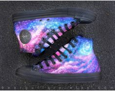 Let me paint you something! Here are custom hand painted Converse shoes with original artwork of starry galaxies over Co Galaxy Converse, Galaxy Shoes, Galaxy Outfit, Converse High, Studded Converse, Painted Converse, Painted Shoes, Custom Converse, Custom Shoes
