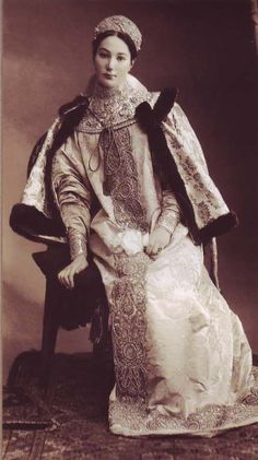 Countess Alexandra Dmitrievna Tolstaya dressed in a XVII century Russian costume for the Romanov Imperial Ball, April 1903.