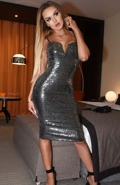 a862784eb155 Plunge V Neck Bodycon Midi Sequin Dress in Silver In The Style Of TOWIE   fashion