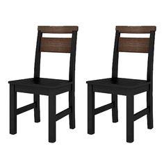 Conjunto com 2 Cadeiras Midnight Madeira Maciça Pinus e MDF Laqueado na cor preta - dactylo