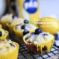 Lemon and Blueberry Cornmeal Muffins with Lemon Glaze #PANFan #ad #IC ...