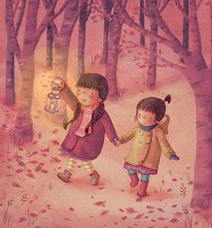 Antonia Woodward Illustration - antonia woodward, commercial, trade, picture book, picturebook, novelty, sweet, fiction, traditional, painted, young, cute, girls, forest, lanterns lights, candles, warm autumn, woods, night, darkness