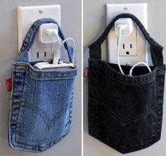 ideias de artesanato com bolso de cala jeans reciclagem no meio ambiente