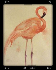 Flamingo Original abstract acrylic Watercolor artwork  by artist Lee Chantelle Sarver www.etsy.com/shop/commonmatterarts