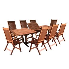 Rectangular Extension Table and Reclining Chair Outdoor Dining Set | Overstock.com Shopping - Big Discounts on Vifah Dining Sets