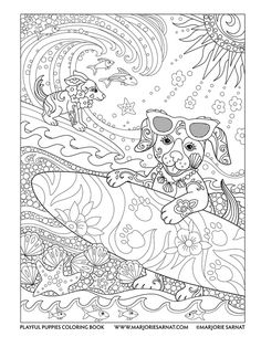 Surfer Pups : Playful Puppies Coloring Book by Marjorie Sarnat